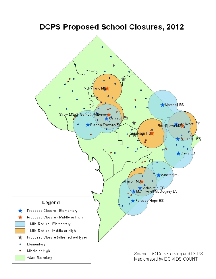DCPS Proposed School Closures, 2012 by DC KIDS COUNT