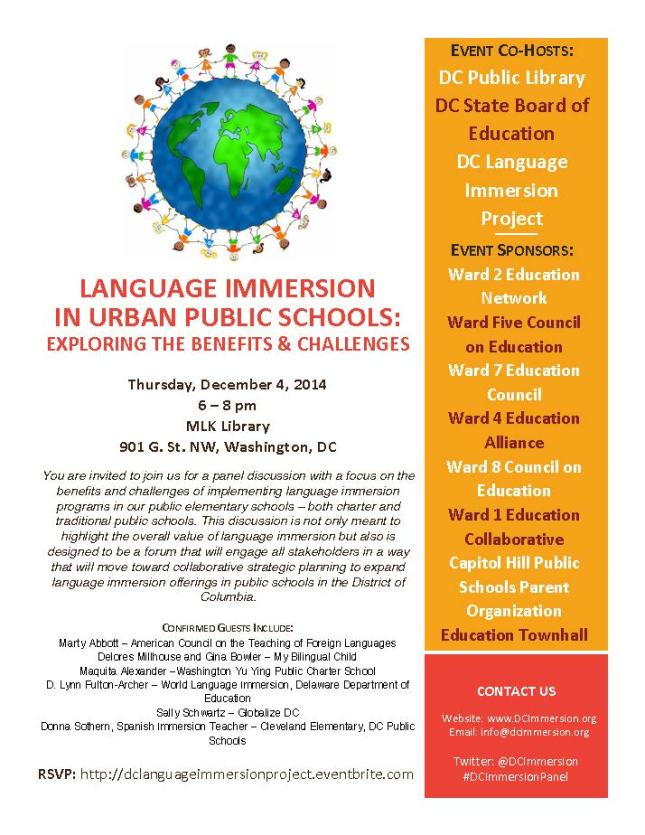 DC Language Immersion Project Flyer