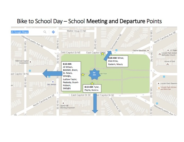 Bike to School Day Departure Map