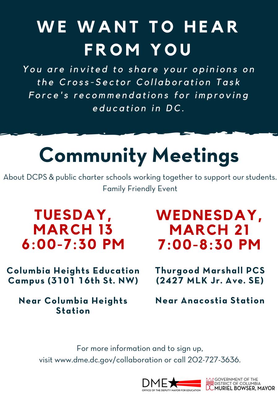 Cross Sector Community Meeting Flyer