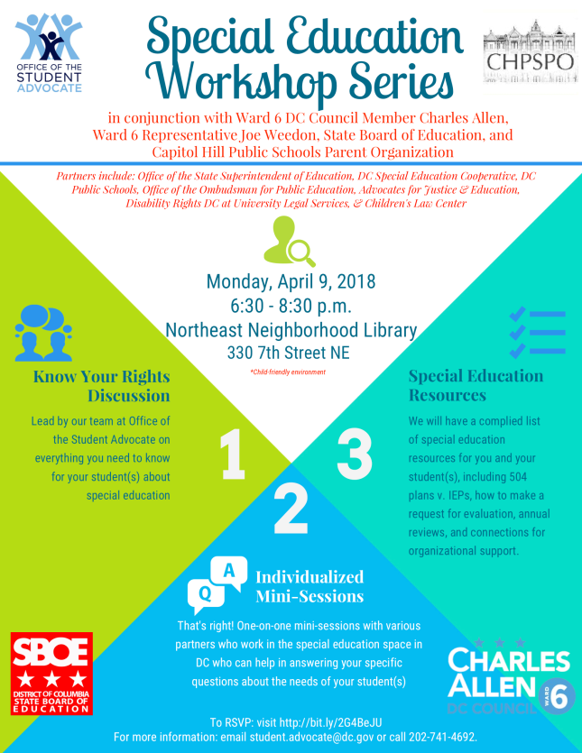 Ward 6 Special Education Workshop Flyer