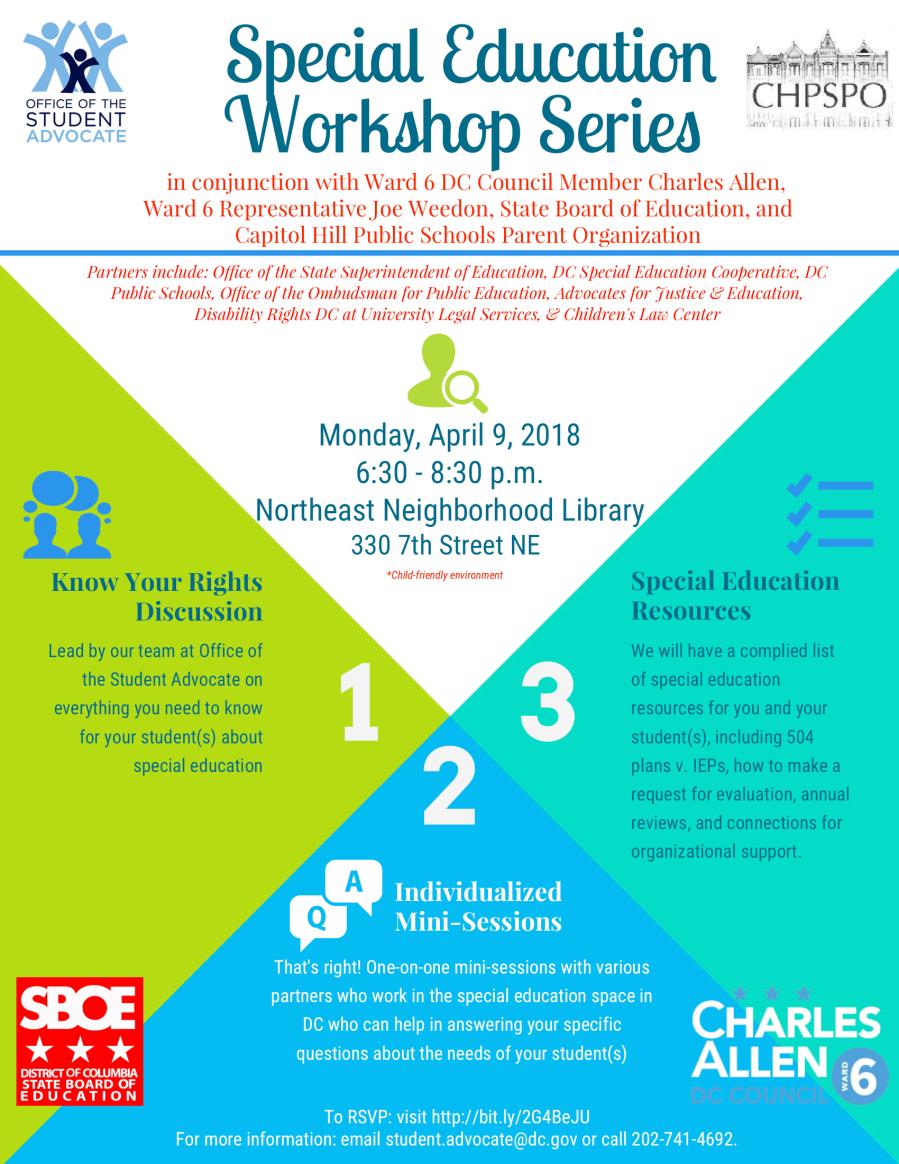 Ward 6 Special Education Workshop Flyer