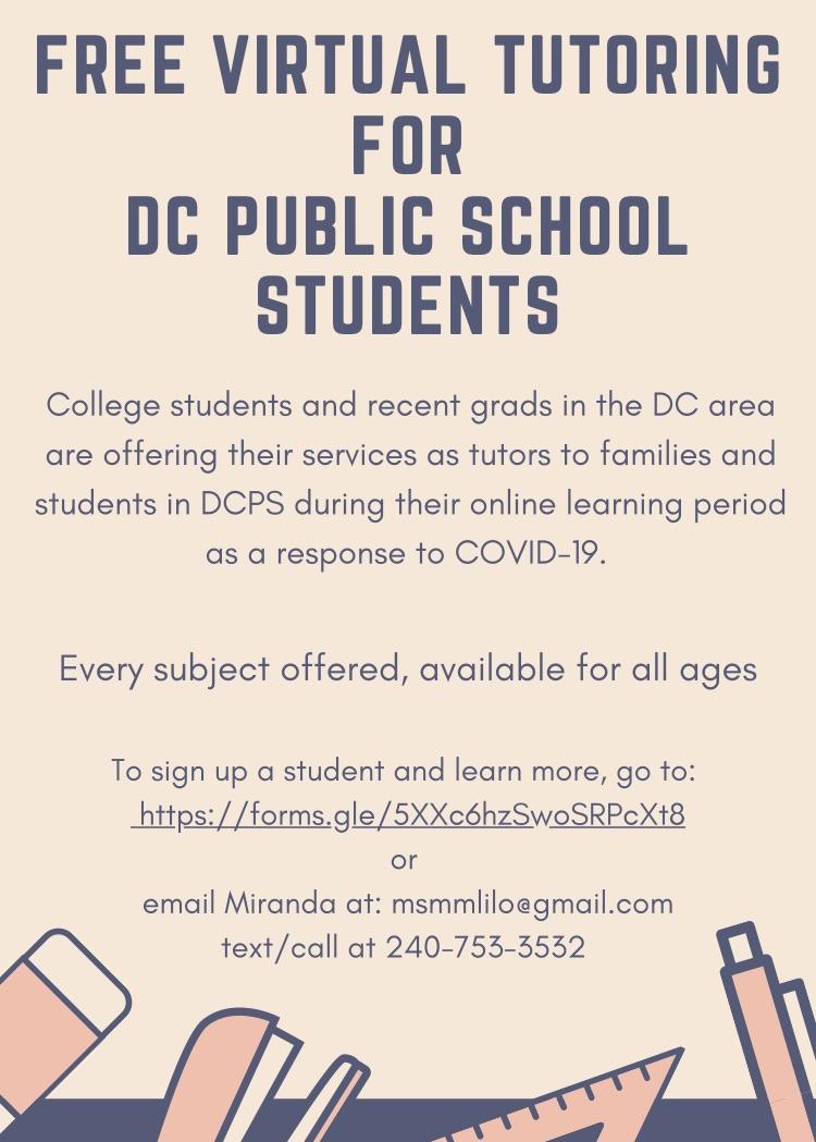 DCPS Tutoring- Parent+Guardian Sign up Form